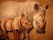 Rhinos Print by Annie Seddon