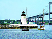 Newport Posters - Rhode island - Lighthouse Bridge and Boats Newport RI Poster by Susan Savad