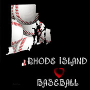 Baseball Art Digital Art Framed Prints - Rhode Island Loves Baseball Framed Print by Andee Photography
