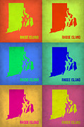 World Map Digital Art Metal Prints - Rhode Island Pop Art Map 1 Metal Print by Irina  March