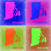 Rhode Framed Prints - Rhode Island Pop Art Map 2 Framed Print by Irina  March