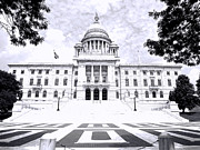 Historical Buildings Posters - Rhode Island State House BW Poster by Lourry Legarde
