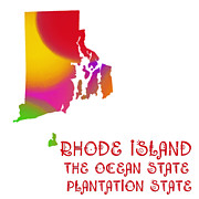 Rhode Island Map Prints - Rhode Island State Map Collection 2 Print by Andee Photography