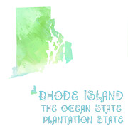 Rhode Island Map Prints - Rhode Island - The Ocean State - Plantation State - Map - State Phrase - Geology Print by Andee Photography