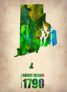 Map Art Digital Art Prints - Rhode Island Watercolor Map Print by Irina  March