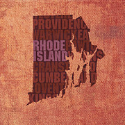 Rhode Island  State Map Framed Prints - Rhode Island Word Art State Map on Canvas Framed Print by Design Turnpike