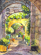 Tourism Drawings Prints - Rhodes Old Town Greece Print by Carol Wisniewski
