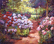 Gardenscapes Painting Framed Prints - Rhododendron Stroll Framed Print by  David Lloyd Glover