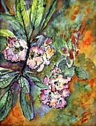 Rhododendron Flowers Framed Prints - Rhododendron Watercolor and Ink Framed Print by Ginette Callaway