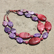 Sterling Silver Art - Rhodonite and Crazy Lace Agate Double Strand Chunky Necklace 3636 by Teresa Mucha