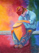 Drummer Pastels - Rhythm Master by Nancy Jolley