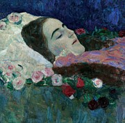 Dark Blue Green Posters - Ria Munk on her Deathbed Poster by Gustav Klimt