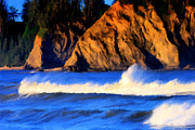Wacom Metal Prints - Rialto Beach Rooster Tail Metal Print by Paddrick Mackin