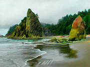 Wacom Tablet Prints - Rialto Beach Sea Stacks Print by Paddrick Mackin