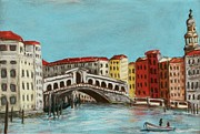 Red Art Pastels Prints - Rialto Bridge Print by Anastasiya Malakhova