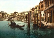 Gondola Mixed Media Framed Prints - Rialto Bridge Venice Italy Refurbished Framed Print by Unknown - L Brown