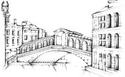 Signed Drawings Prints - Rialto Bridge Venice Italy Print by Steven Davis