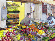 Pears Drawings Framed Prints - Rialto Market Framed Print by Albert Puskaric