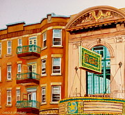 Forties Paintings - Rialto Theatre-montreal Classic Building-vintage Marquee by Carole Spandau