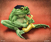 Saxaphone Prints - Ribbit Riff... Print by Will Bullas