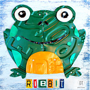 Animal Mixed Media Metal Prints - Ribbit the Frog License Plate Art Metal Print by Design Turnpike