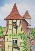 Alsace Framed Prints - Ribeauville Village in Alsace  Framed Print by Mary Ellen  Mueller-Legault