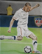 League Drawings Framed Prints - Ricardo Clark USMNT Framed Print by Brian Broadway