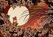 Moon Tapestries - Textiles Posters - Rice Moon Poster by Jean Baardsen
