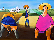 In Earth Tones Paintings - Rice Pullers by William Cain