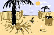 Rich Cat On The Beach Print by Robert Wilkinson