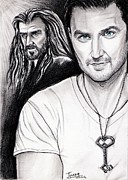 Richard Drawings Posters - Richard Armitage staring as Thorin Oakenshield Poster by Joane Severin