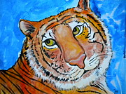 Funny Mixed Media Acrylic Prints - Richard Parker Acrylic Print by Debi Pople