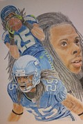 Pro Football Drawings Posters - Richard Sherman Collage Poster by Angela Q