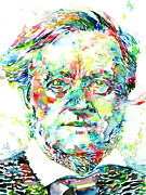 Drawing Painting Originals - Richard Wagner Watercolor Portrait by Fabrizio Cassetta