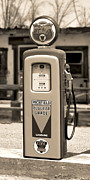White Images Posters - Richfield Ethyl - Gas Pump - Sepia Poster by Mike McGlothlen