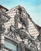Historical Buildings Drawings Prints - Richness of lines Print by Danuta Bennett