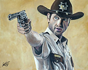 Walking Painting Framed Prints - Rick Grimes Framed Print by Tom Carlton