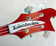 Music Drawings Framed Prints - Rickenbacker Framed Print by Glenda Zuckerman