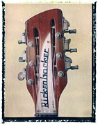 Guitar Headstock Framed Prints - Rickenbacker Guitar Headstock Art Print Framed Print by Artful Musician NY