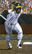 League Painting Framed Prints - Rickey Henderson Framed Print by Mike Rabe