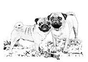 Christmas Dogs Prints - Ricky and Curly Print by Joseph Juvenal