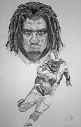 Miami Dolphins Drawings - Ricky Williams by Jonathan Tooley