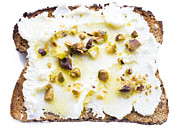 Glass Oil Dish Posters - Ricotta Pistachio Toast 1 Poster by Leigh Anne Meeks