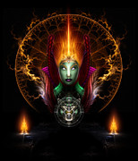Fractron 9000 Posters - Riddian Queen Of Fire Poster by Rolando Burbon