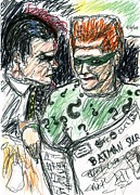 Knight Drawings - Riddler and Two-Face by Rachel Scott