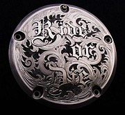 Hand Engraving Reliefs - Ride or Die hand engraved relief made on a Harley-Davidson derby cover by Paul Holbrecht