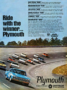 Darlington Digital Art Posters - Ride with the winner... Plymouth Poster by Digital Repro Depot