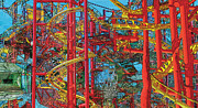 Roller Coaster Mixed Media Posters - Ride X Poster by David Klaboe