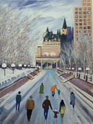 Skating Mixed Media - Rideau Canal Ottawa by Laura Laughren