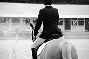 Horse Riders Framed Prints - Rider in Black and White Framed Print by Jennifer Lyon